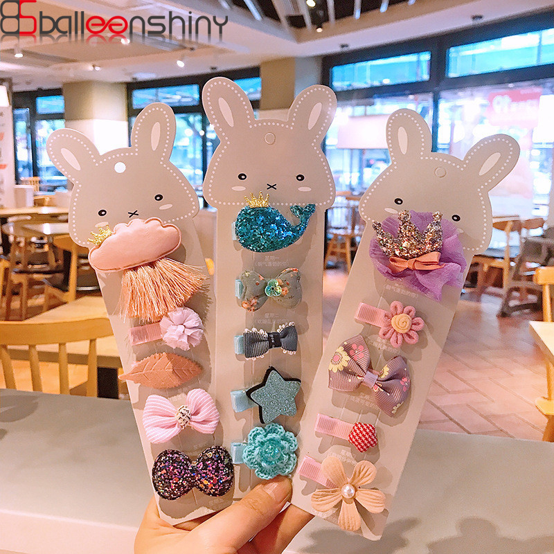 BalleenShiny 5Pcs Baby Cute Cartoon Hairpin Flowers Bowknot Hair Clips Toddler Lovely Star Head Accessories Princess Photo Props