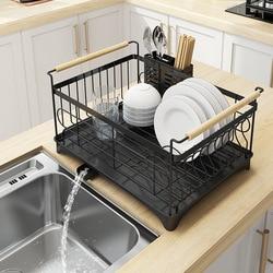 Almacenamiento plato escurridor platos secado rack organizador para fregadero de acero inoxidable rejilla para escurrir para fregadero de cocina estanterías de cocina 2-historia suministros