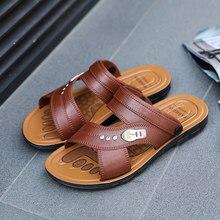 Homem chinelos de couro respirável 2019 verão homens sandálias ao ar livre couro genuíno masculino praia shoe666