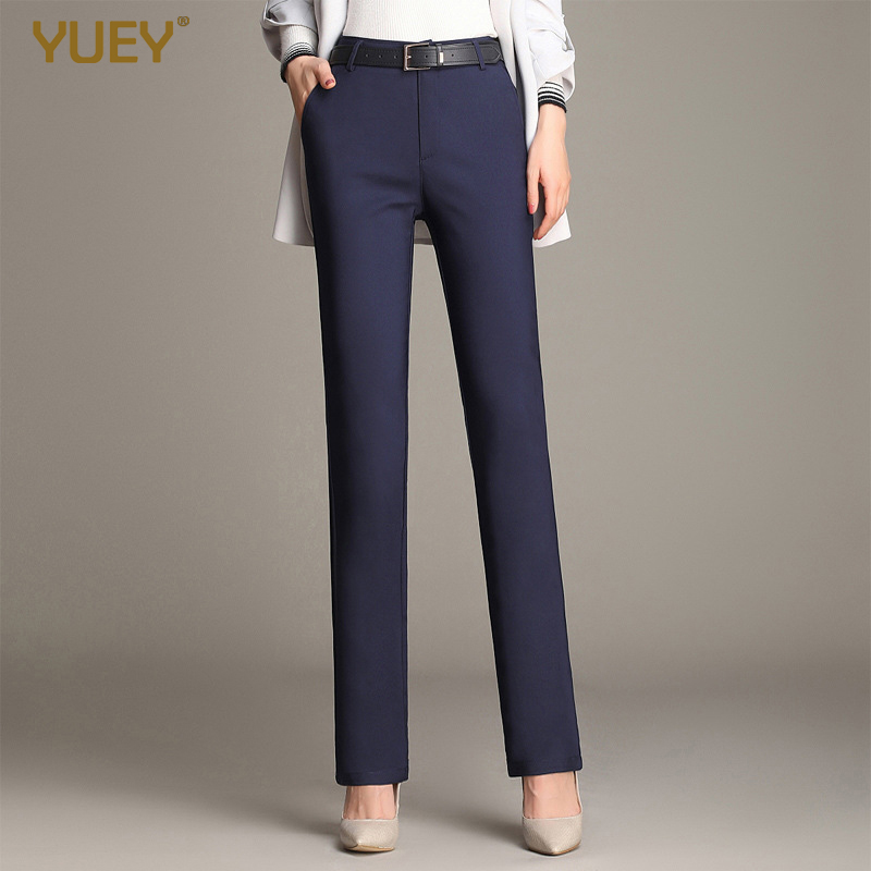 YUEY 2020 Spring Autumn New Women Straight Leg Pants OL Cotton Elastic White Slim Office Female Black Khaki Trousers Solid Color