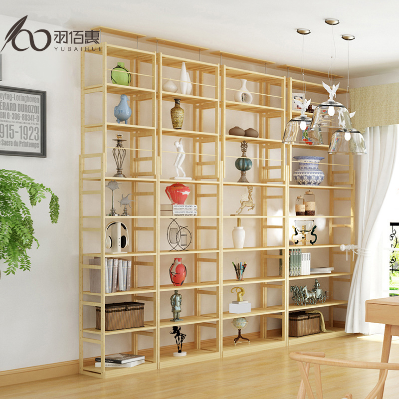 Wholesale Pure Solid Wood Retractable Bookshelf Minimalist Modern Storage Shelf Living Room Partition Simple Library Bookcase