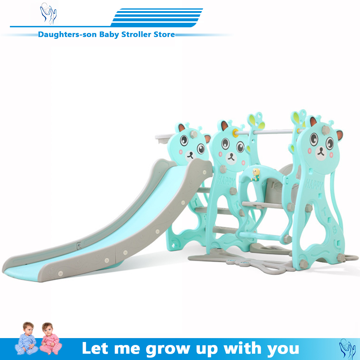 Children's Slide And Swing, Children's Indoor Playground For Kindergarten, Plastic Multi-functional Slide For Children, Three In