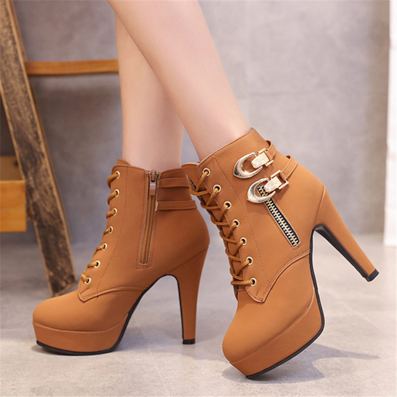 Women Boots Sexy High Heels Platform Ankle Boots For Women Botas Femininas Mujer Lace-up Fashion PU Leather Boots