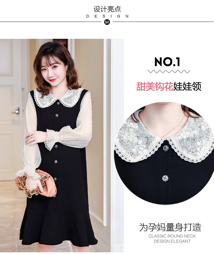 Cotton Spring Dress for Pregnant Women Maternity Summer Clothes for Pregnancy Black Pregnant Dress (6)