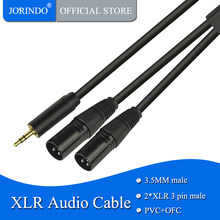 JORINDO 0.5M/1.64FT 3.5MM to 2*XLR audio cable,Dual XLR 3-pin to 3.5MM male Microphone cable,Mobile phone amplifier line(China)