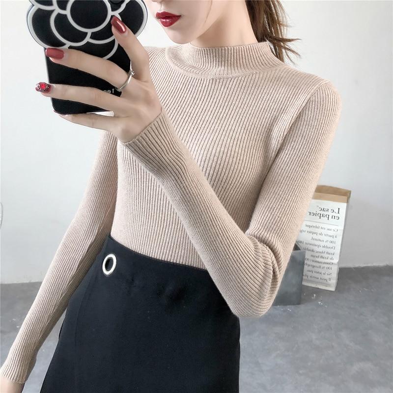HAYBLST Brand Women Sweater 2019 Autumn Fashion Stretch Knitting Keep Warm Tops Plus Size L Korean Style Slim Patchwork Clothing