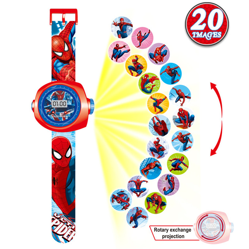 Children 3D Projection Watch 2019 New Stylish Interest Toy Spiderman Cartoon Pattern Digital Kids Watches Boys Girls Babys Gift