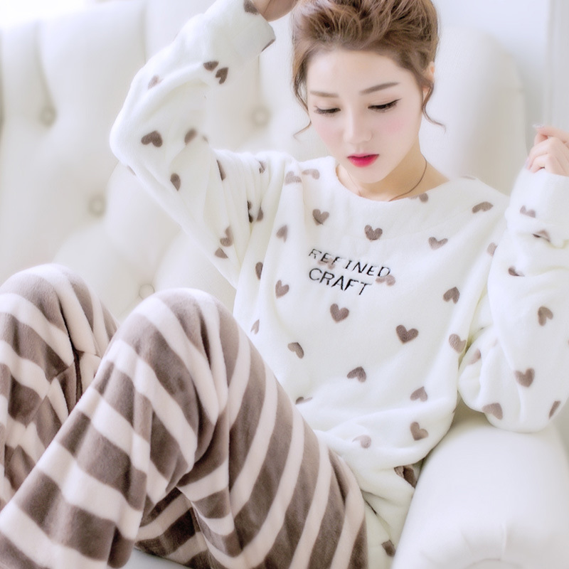 New Products Korean-style Flannel Pajamas Women's Winter Lettered Peach Heart Sweet Cute Tracksuit Coral Velvet Long-sleeve Suit