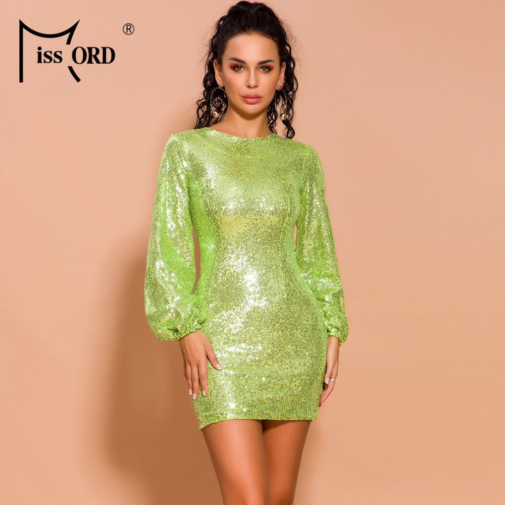 Missord 2020 Women Sexy  O Neck Puff Sleeve Sequin Dresses Female Solid Color Mini Elegant Dress FT19489-2