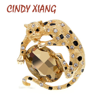 CINDY XIANG Rhinestone Leopard Brooches For Women Classic Design Fashion Brooch Pin 2 Colors Available High Quality New 2020 cindy xiang colorful cubic zirconia daisy brooches for women sunflower brooch pin copper jewelry zircon corsage high quality