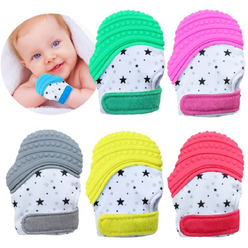 Baby Glove Teether Toys For Boys & Girls Adjustable Strap Stays On Infant Hands Safe Silicone Baby Thumb Sound Teether Pacifier
