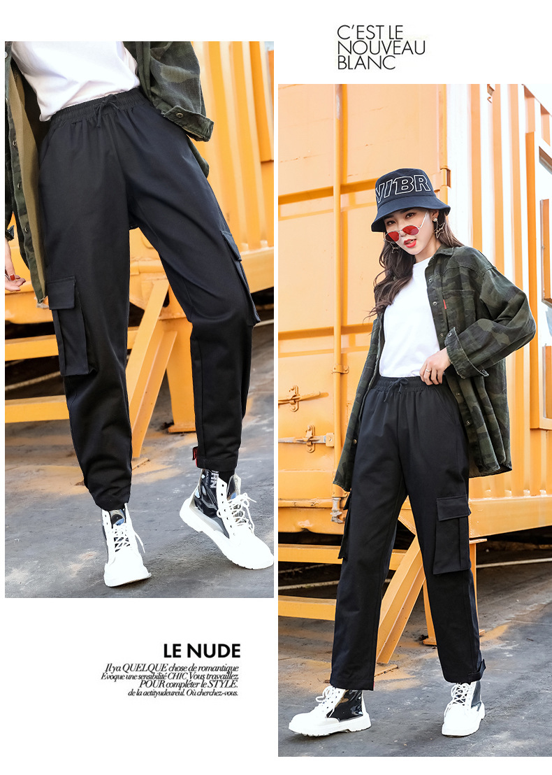 2019 spring and autumn new women's straight jumpsuit casual harem pants Harajuku style Korean version of the elastic waist wide 53