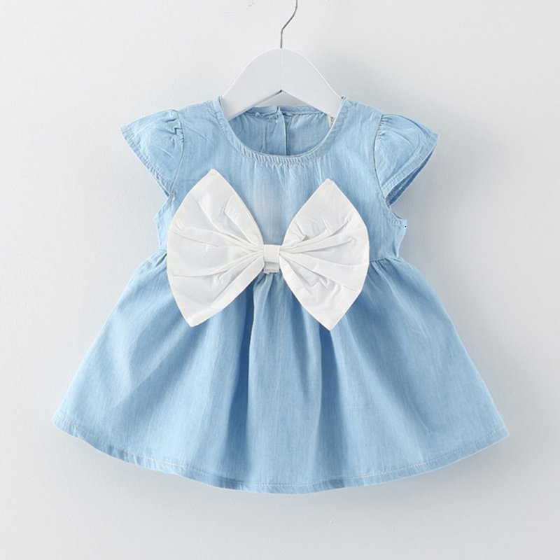 H70a35d242dea4f0bb64af99259c264f6h Girls Dress 2018 Summer Explosion Solid Color Denim Dress Cartoon Polka Dot Bow Cartoon Bunny Satchel Korean Baby Cute Dress