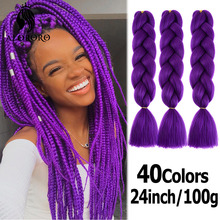 Synthetic-Hair-Extension Braiding-Hair-Product Hair-Braid Blonde Afro Pink 24inch Alororo