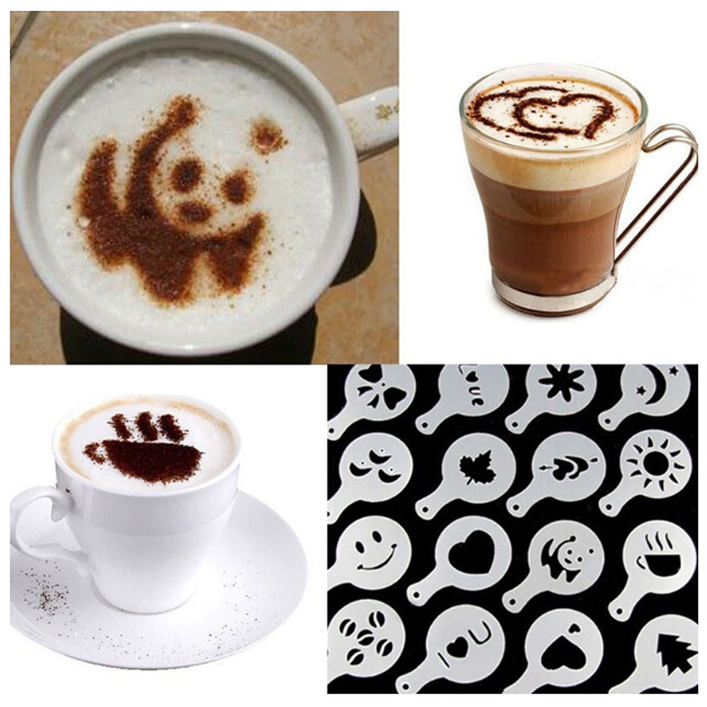 16pcs Coffee Stencil Filter Coffee Maker Cappuccino Coffee Barista Mold Templates Strew Flowers Pad Spray Art Coffee Tools