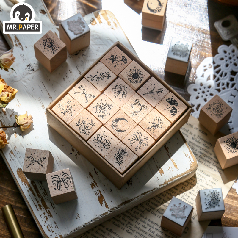 Mr.Paper Everything You See Green Field Series Seal Style Creative Simple Handmade Account Decoration DIY Material Print Single