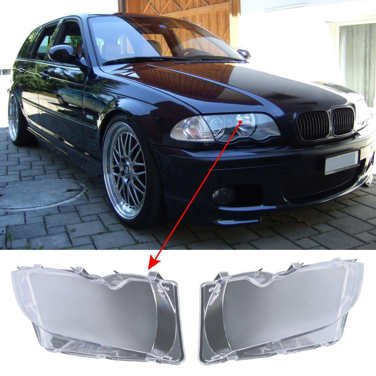 Samger 2PCS Headlight Lens For BMW E46 3er 4Door 2002 2003 2004 2005 Car Lights Head Lamp Cover Clear