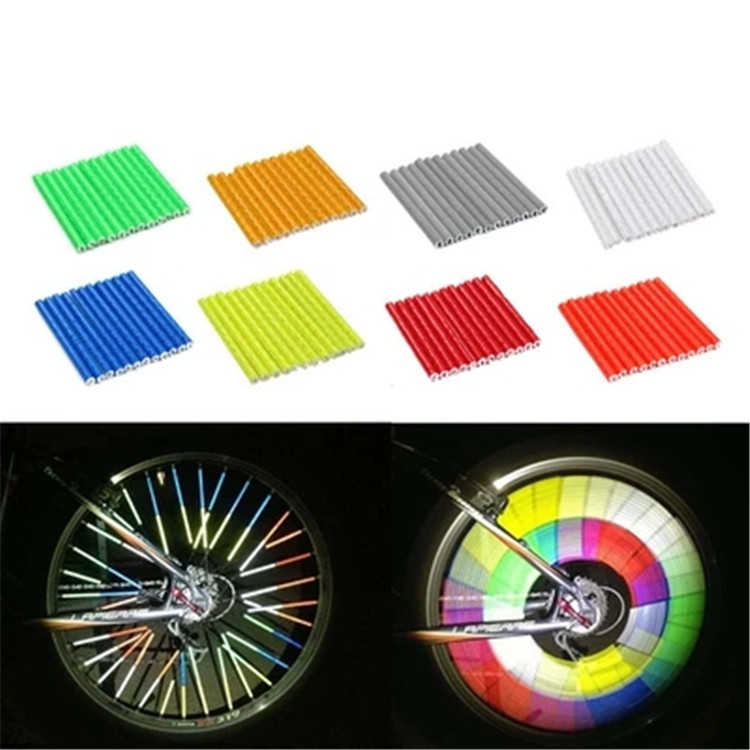 12PCS Bicycle Wheel Spokes Reflective Stickers Bike Reflector Strip Tubes Safety Warning Light Cycling Bike Bicycle Accessories