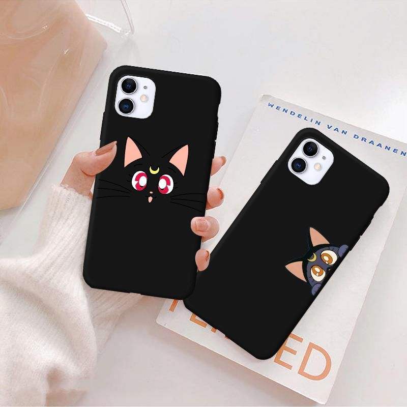 Case Mate Iphone 11 | Anime Japan Girl Sailor Moon Kawaii Black Phone Case For IPhone 11 Pro Max 8 7 6 S Plus X Xr Xs 5 Funda Cover Tumblr Cute Cat