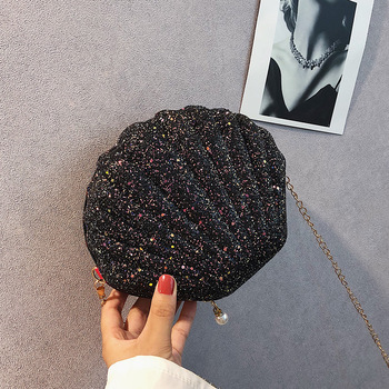 Shoulder Shell Cute Sequin Small Phone Money Zipper Chain Pouch Crossbody Bags for Women | Ladies