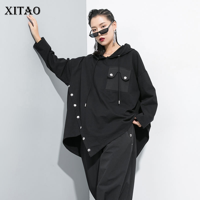 XITAO Black Irregular Hoodies Women Pullover Pocket Hooded Collar Original Design 2019 Autumn Elegant Minority Hoodies GCC2111