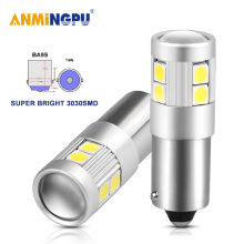 AMNINGPU 2X Signal Lamp Led BA9S 9SMD 3030Chips T4W Car Interior Dome Lights Reading License Plate