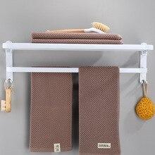 Towel-Rack Bath-Shelves Folding Bathroom Aluminum White Punch-Space
