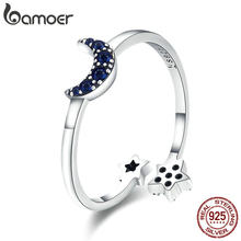 BAMOER Reale Dell'argento Sterlina 925 Blu Scintillante Luna Star Sereno CZ Anelli di Barretta per le Donne di Nozze di Fidanzamento Gioielli anel SCR437