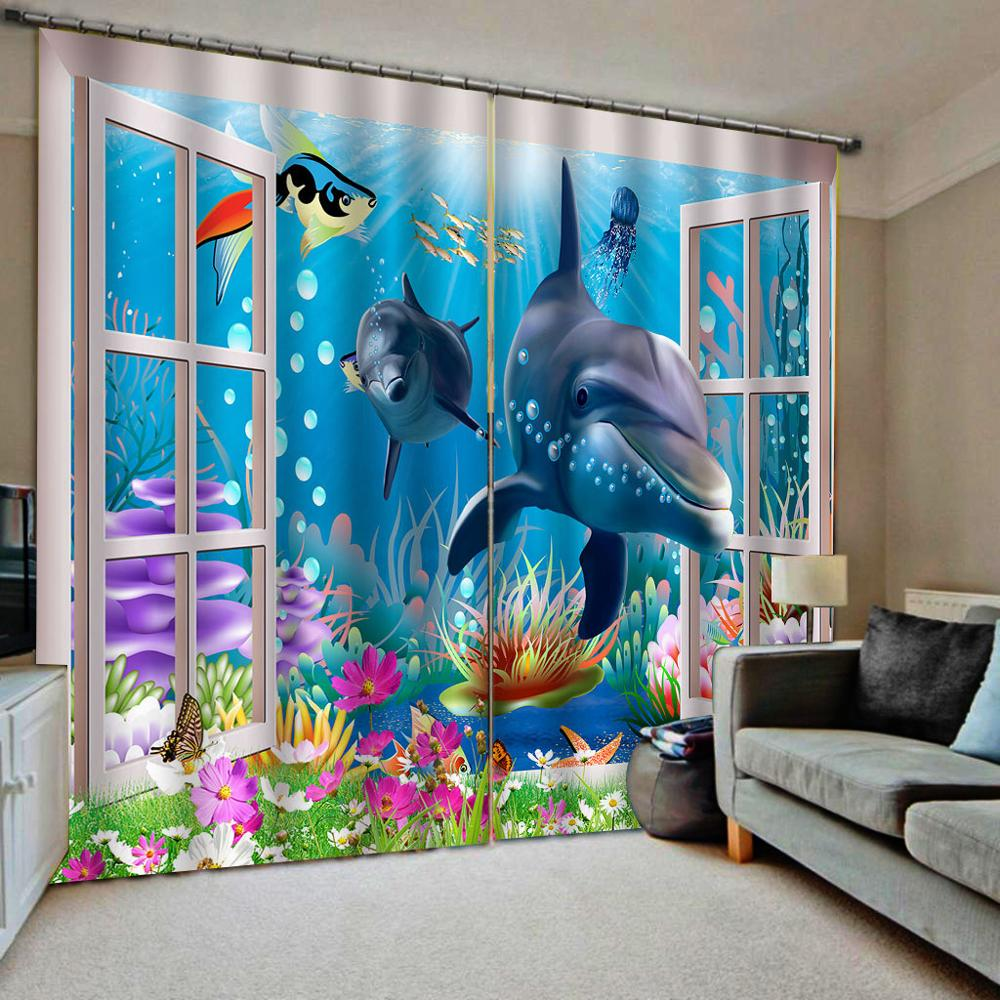 Luxury Blackout 3D Window Curtains For Living Room Underwater Ocean Dolphin Curtains Kids Curtain