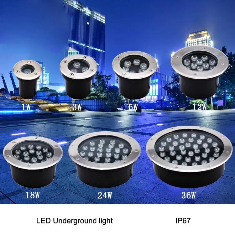 NEW 1w / 3w / 5w / 6w / 7w / 9w / 12w / 15w / 18w LED Outdoor Ground Garden Floor Underground Buried Lamp Spot Landscape Light A