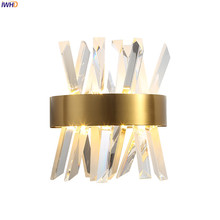 IWHD Mordern Luxury Crystal Wall Lights For Home Lighting Bedroom Bathroom Mirror Light Nordic LED Wall Lamp Sconces Wandlamp Applique Murale iwhd swing long arm wall light up down vintage glass wall lamp led bedroom iron wandlamp home lighting edison bulb light