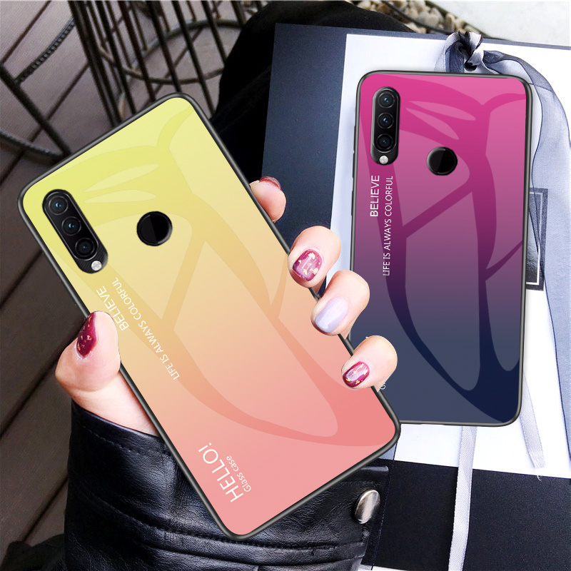 Phone Case for Lenovo Z6 Lite Cover Luxury Gradient Tempered Glass Soft Silicone Frame Case Fundas