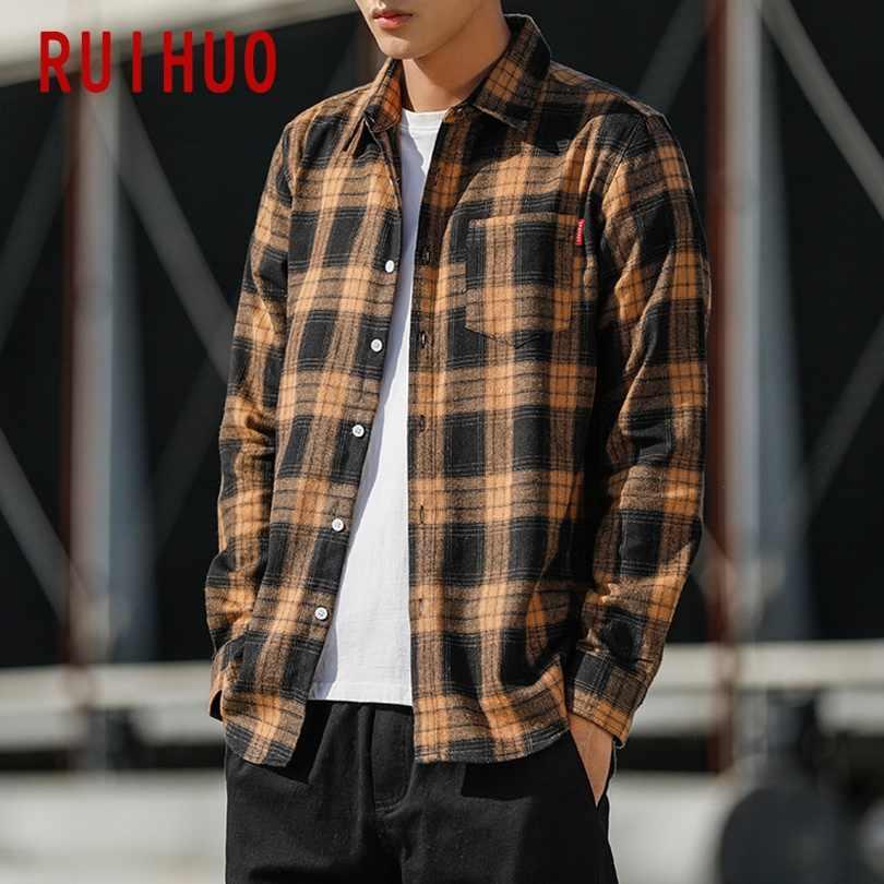 RUIHUO 2020 새로운 봄 캐주얼 격자 무늬 셔츠 남성 슬림 피트 면화 남성 긴 소매 셔츠 남성 패션 브랜드 플러스 크기 M-3XL