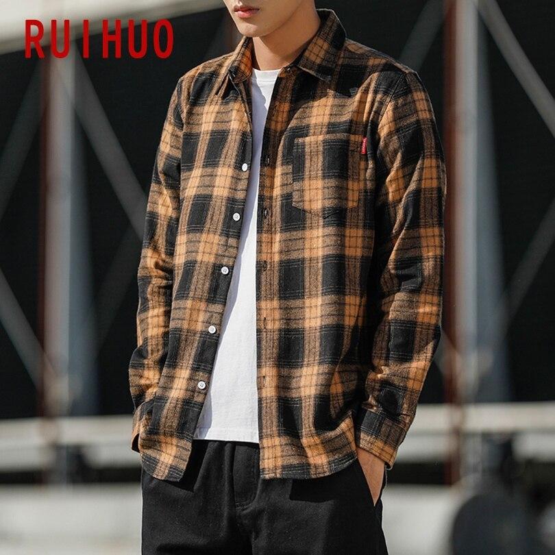 Ruihuo 2020 nova primavera casual xadrez camisa masculina fino ajuste de lã algodão masculino camisas de manga longa masculina marca de moda mais tamanho M-5XL