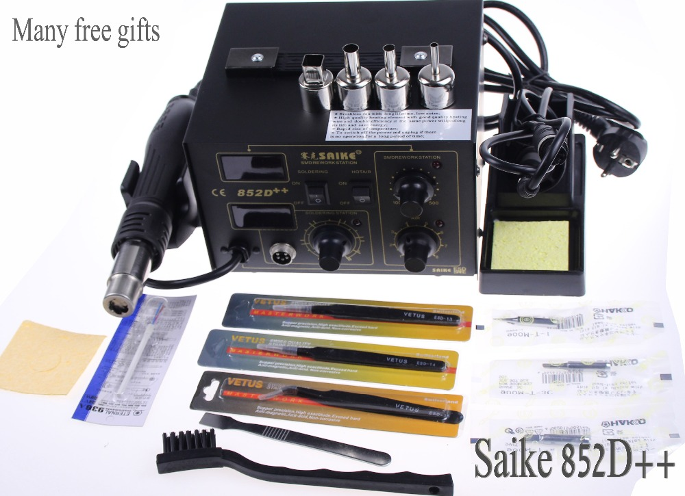 SAIKE 852D + + fer à souder pistolet à Air chaud 2 en 1 Station de reprise 220V 110V amélioré fron tête de fer bouche de vent