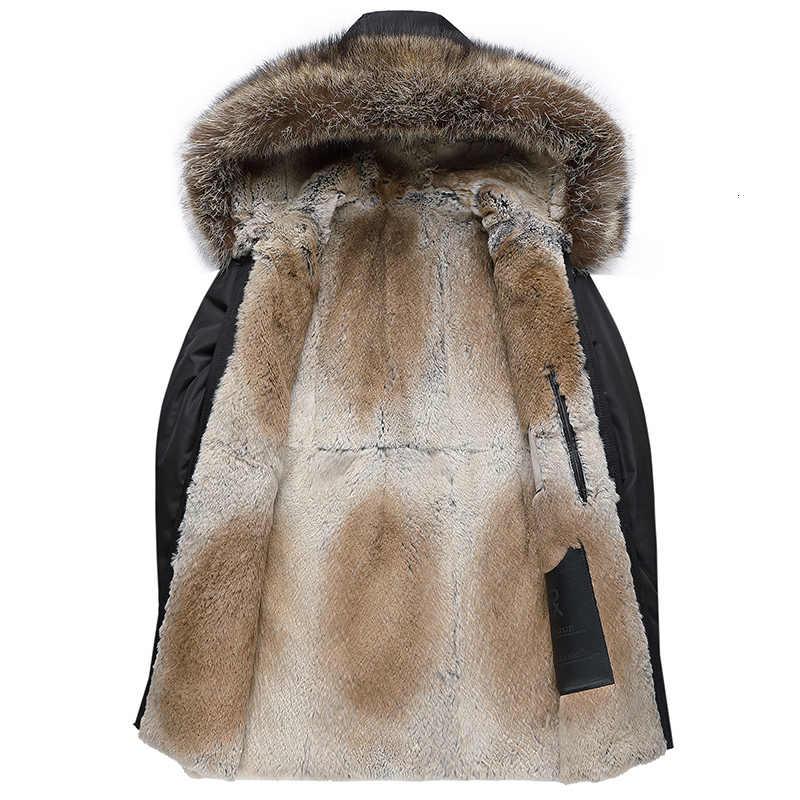 Echte Bontjas Mannen Natuurlijke Konijnenbont Voering Wasbeer Bontkraag Capuchon Parka Warme Parka Plus Size Winter Jas SP18D9636E YY702