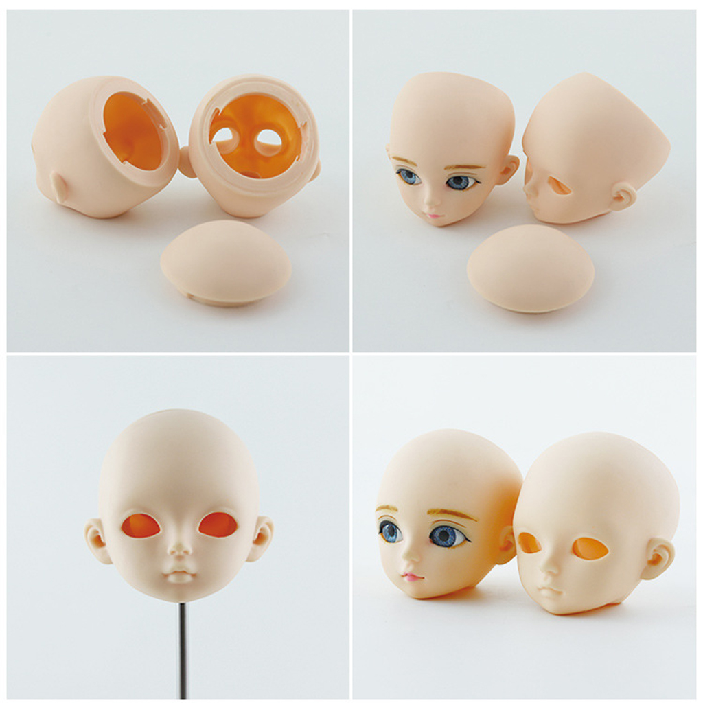 1/3 BJD Head Face Mold  Doll Replacement Body Parts, Make Up Eyes Eyelash Extensions For Hair Styling Cosmetology With 3D Eyes