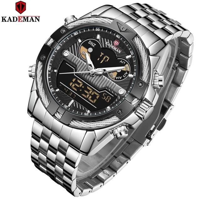 9076 Luxury Brand Mens Watch Mens Sport Watch LED Quartz Watches Stainless Steel Army Military Wristwatch Relogio Masculino