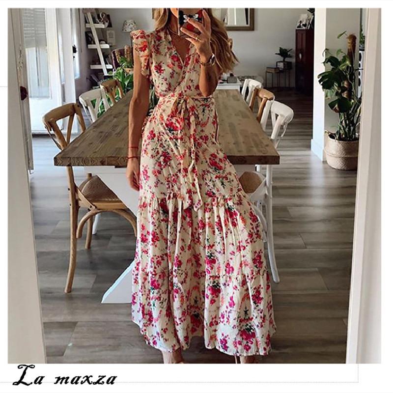 Sexy Casual Print Women Maxi Dress 2020 Summer Elegant V-neck Ruffles Slim Dress For Ladies