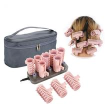 10 pçs/pçs/set rolos de cabelo elétrico tubo aquecido rolo cabelo encaracolado estilo varas ferramentas massagem rolo rolos acessórios 25mm 30mm