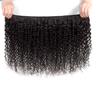 Image 2 - Sweetie Indian Hair Afro Kinky Curly Hair Extensions 100% Human Hair Weave Bundles Natural Color 3/4 Pieces 100G Non Remy