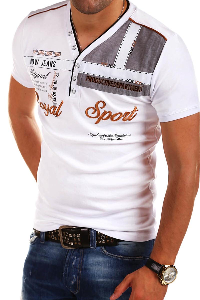 ZOGAA Summer Men Casual Polo Shirts Guys Boys Short Sleeve Letter Printed Polo Shirt Male V-neck Slim Polo Shirt 2019 NEW 4XL