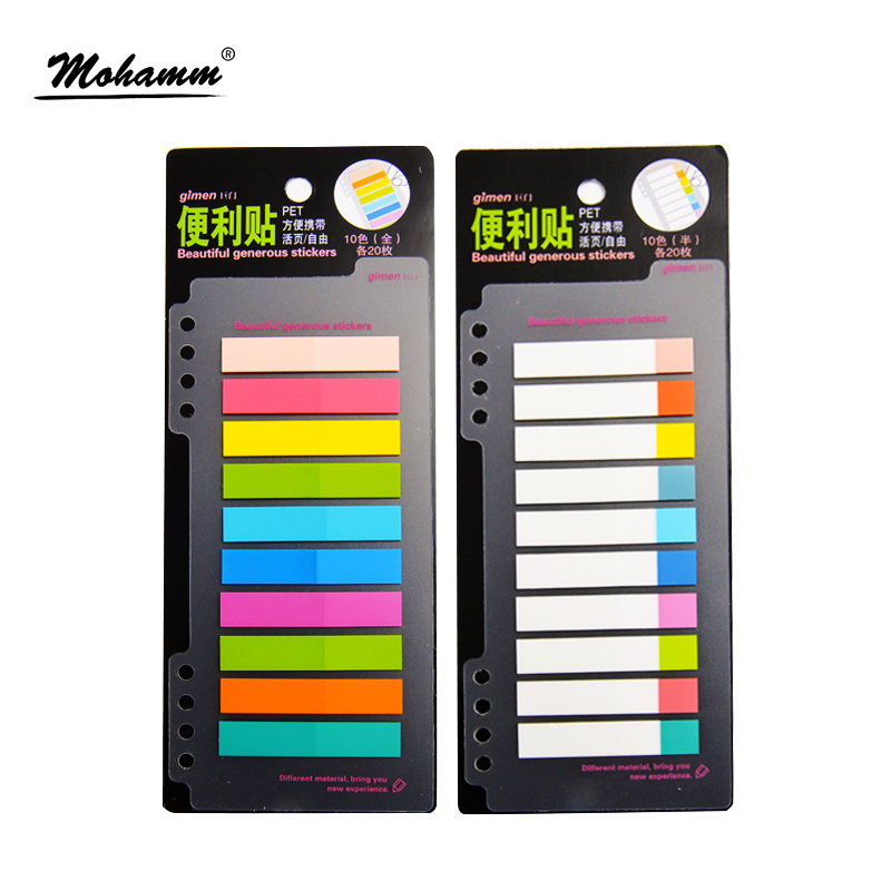 1 Pcs 7/10 Colors PET 20 Sheets Per Color Index Tabs Flags Sticky Note For Page Marker Stickers Office Accessory Stationery