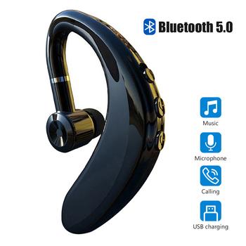 Bezprzewodowy zestaw słuchawkowy Bluetooth 5 0 słuchawki z zaczepem na ucho Sport biznesowy zestaw słuchawkowy słuchawki douszne słuchawki z mikrofonem Smartphone tanie i dobre opinie HKFZ Ortodynamiczna CN (pochodzenie) Prawdziwie bezprzewodowe 125dB Do kafejki internetowej Słuchawki do monitora Do gier wideo