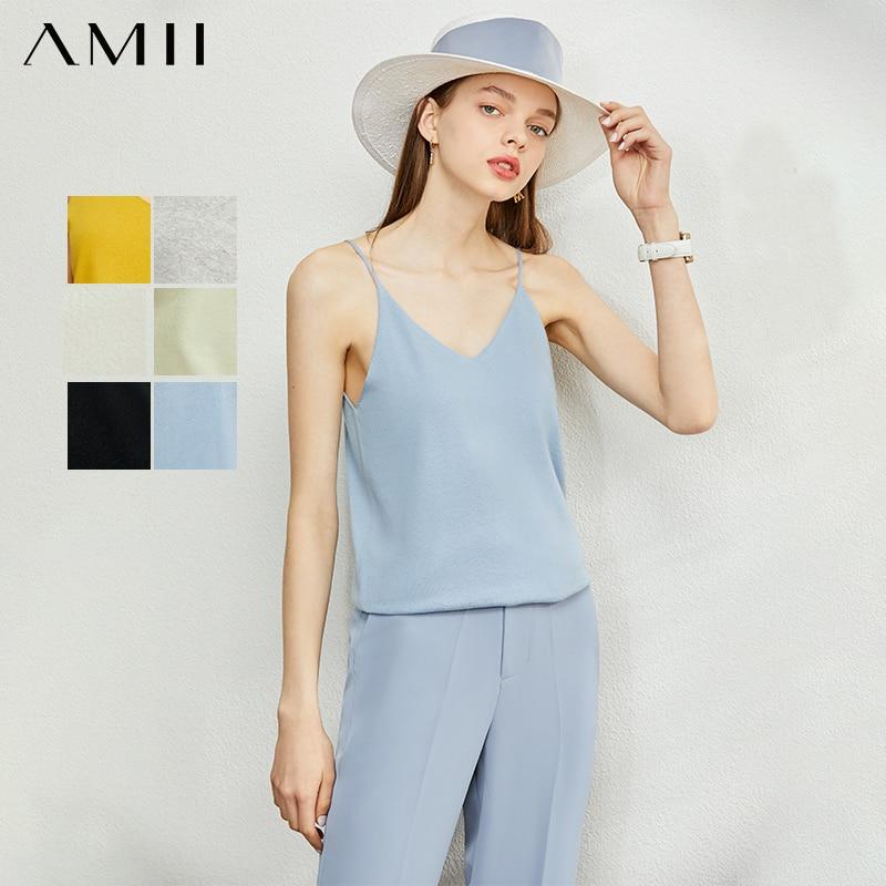 AMII Minimalism Spring Summer Chiffon Soft Solid Vest Tops Women Causal Vneck Sleeveless Camisole Top Women 12040170