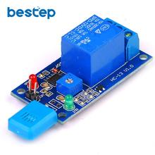 цена на HR202 DC 5V 12V 1 Channal 1CH Humidity Sensitive Switch Relay Module Humidity Controller Humidity Sensor Module With Indicator