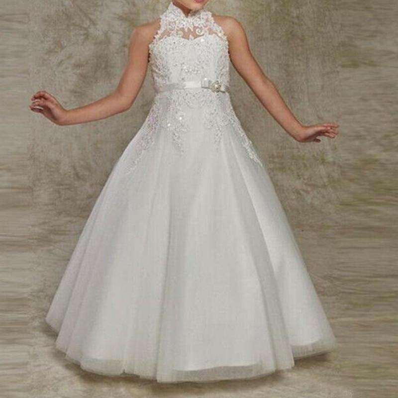 White Lace Flower Girls Dresses Floor Length First Communion Dress Princess Girl Dress For Wedding