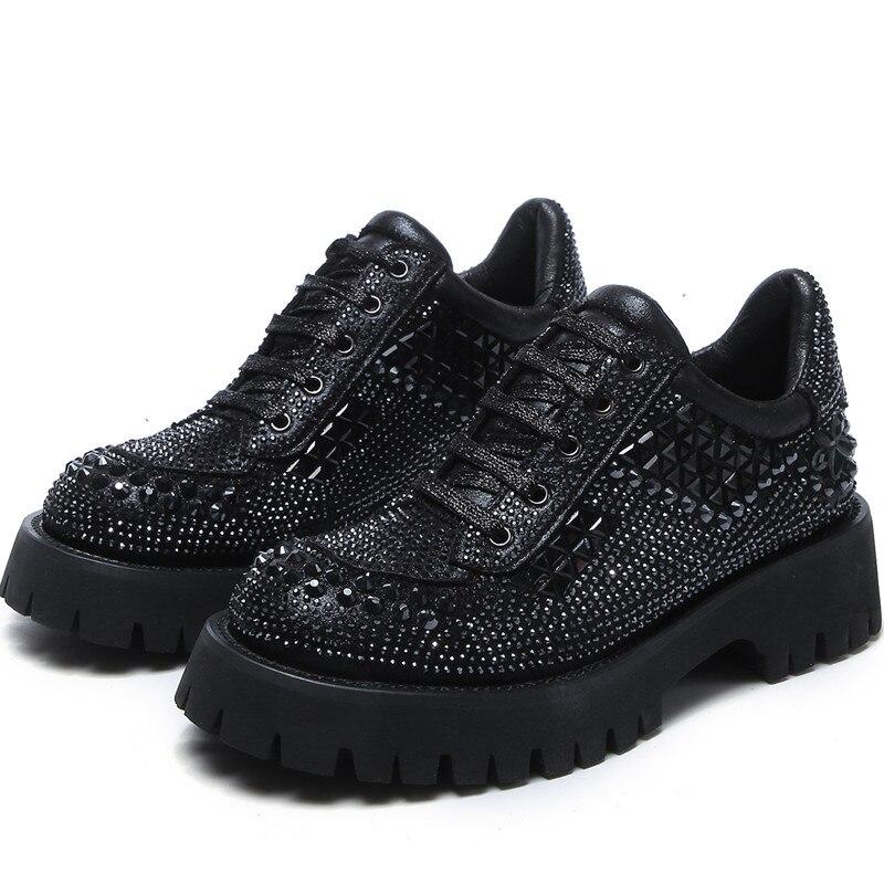 RASMEUP 2020 Women Rhinestone Casual Shoes Women Sneakers Fashion Breathable Special Material Platform Women Shoes Soft Footwear