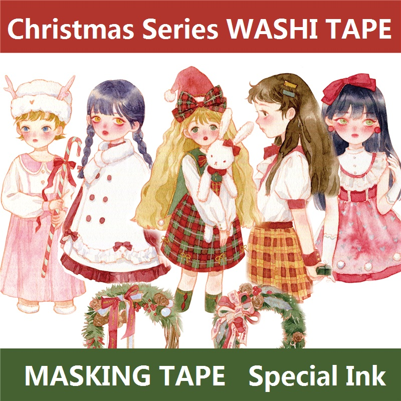 12 Designs Washi Tape Christmas Series Girls Japanese Decor Adhesive DIY Masking Paper Label Stickers Diary Scrapbooking Gift