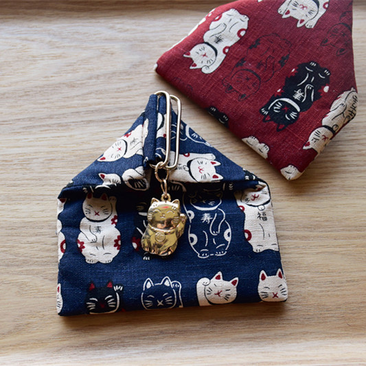 Origional Handmade Japanese Style Retro And Wind Rice Roll Mouth Gold Package Change Fabric Coin Bag Wallet